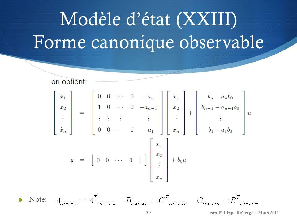 Modèle détat (XXIII) Forme canonique observable Note: Jean-Philippe Roberge - Mars 201129