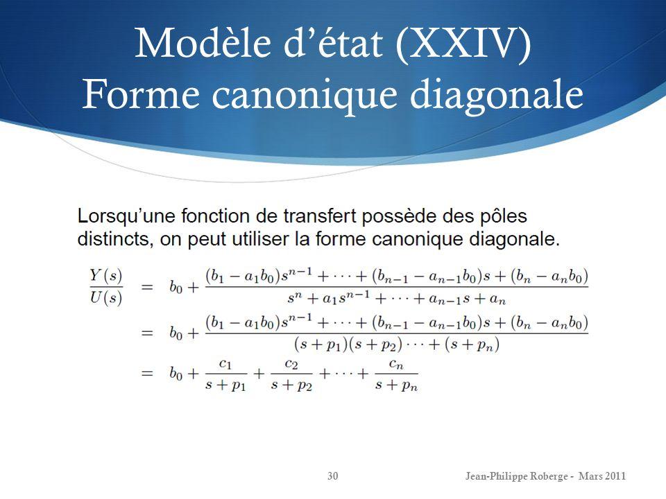 Modèle détat (XXIV) Forme canonique diagonale Jean-Philippe Roberge - Mars 201130