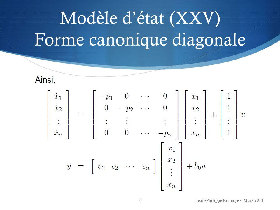 Modèle détat (XXV) Forme canonique diagonale Jean-Philippe Roberge - Mars 201131