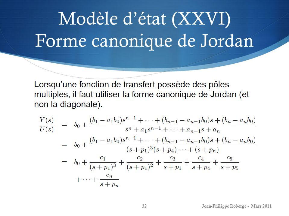 Modèle détat (XXVI) Forme canonique de Jordan Jean-Philippe Roberge - Mars 201132
