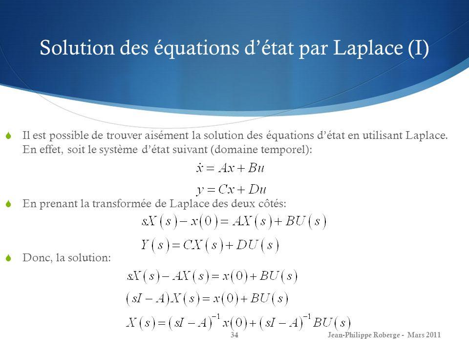 Solution des équations détat par Laplace (I) Il est possible de trouver aisément la solution des équations détat en utilisant Laplace. En effet, soit