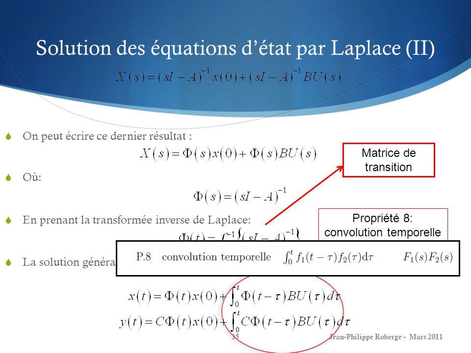 Solution des équations détat par Laplace (II) On peut écrire ce dernier résultat : Où: En prenant la transformée inverse de Laplace: La solution génér