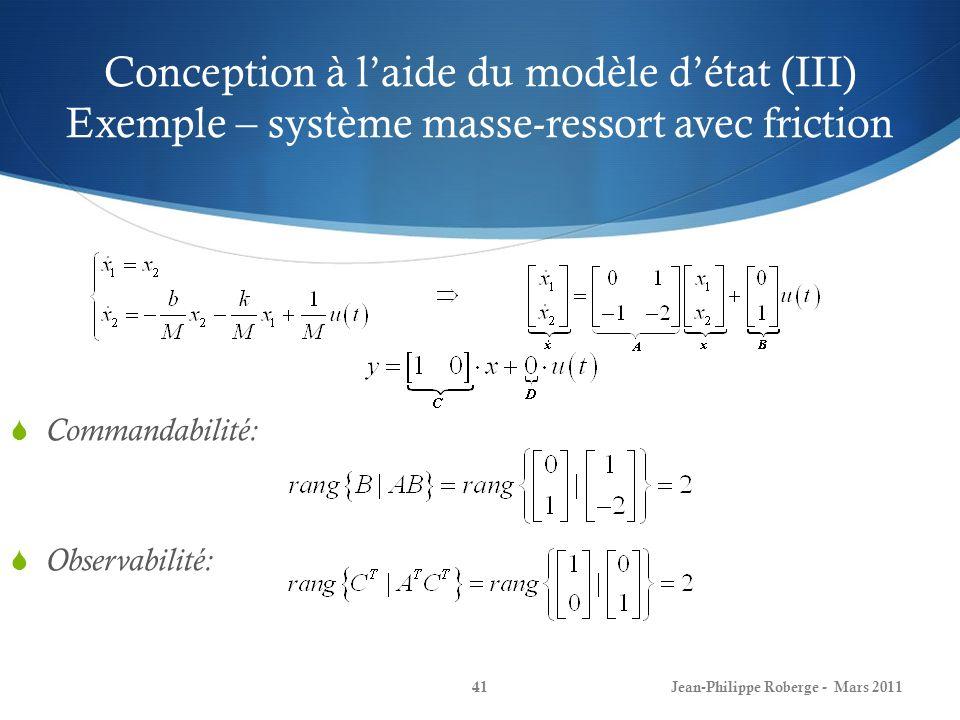 Conception à laide du modèle détat (III) Exemple – système masse-ressort avec friction Jean-Philippe Roberge - Mars 201141 Commandabilité: Observabili