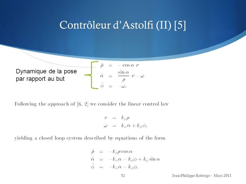 Contrôleur dAstolfi (II) [5] Jean-Philippe Roberge - Mars 201152 Dynamique de la pose par rapport au but