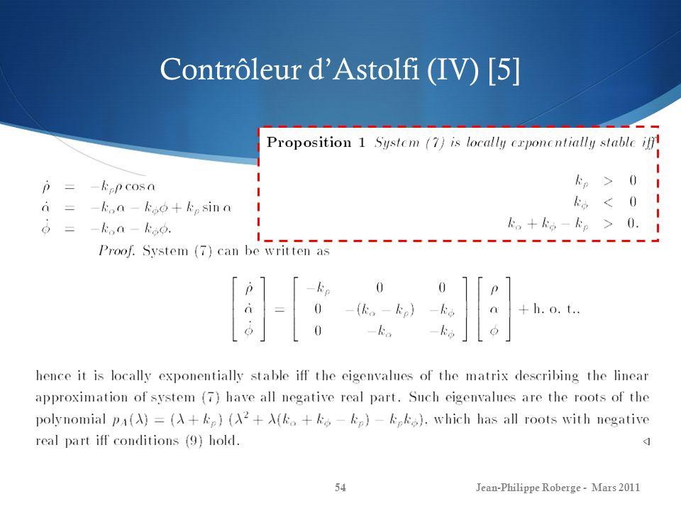 Contrôleur dAstolfi (IV) [5] Jean-Philippe Roberge - Mars 201154