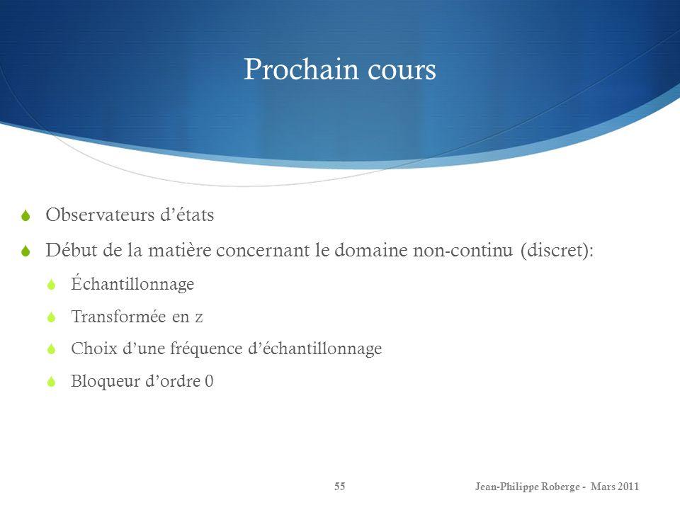Prochain cours Jean-Philippe Roberge - Mars 201155 Observateurs détats Début de la matière concernant le domaine non-continu (discret): Échantillonnag