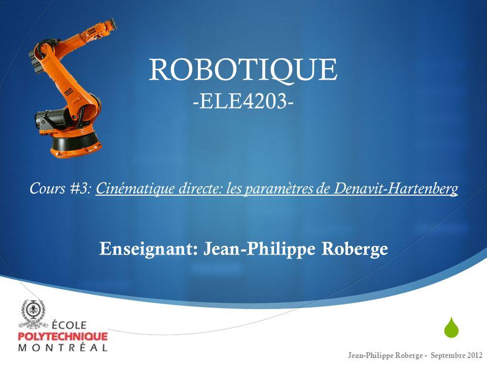 22 Cours #3 Denavit-Hartenberg (6) Jean-Philippe Roberge - Septembre 2012 En observant ce dernier résultat: Il est évidemment possible dautomatiser la cinématique directe (et bien plus).