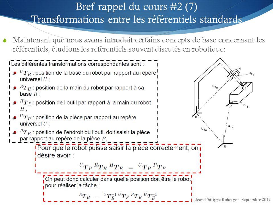 10 Bref rappel du cours #2 (7) Transformations entre les référentiels standards Maintenant que nous avons introduit certains concepts de base concerna