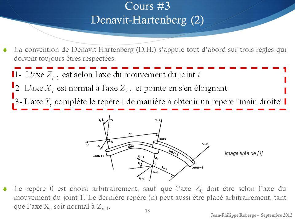 18 Cours #3 Denavit-Hartenberg (2) Jean-Philippe Roberge - Septembre 2012 La convention de Denavit-Hartenberg (D.H.) sappuie tout dabord sur trois règ