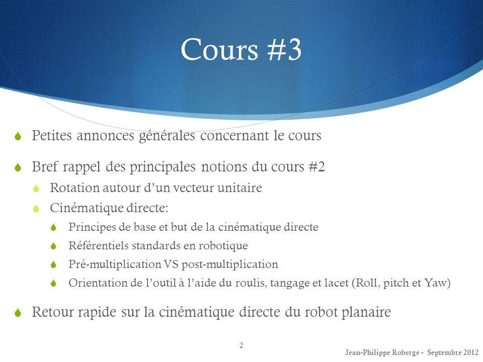 23 Cours #3 Denavit-Hartenberg (7) Jean-Philippe Roberge - Septembre 2012 Voici maintenant la méthode systématique permettant dapposer les repères selon la convention D.H.