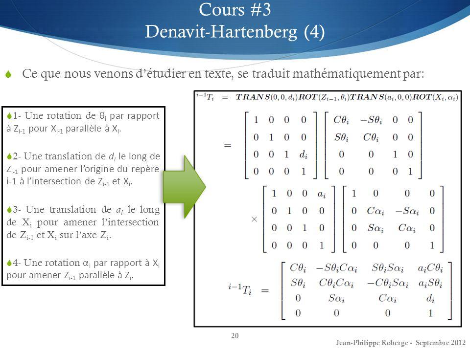 Ce que nous venons détudier en texte, se traduit mathématiquement par: 20 Cours #3 Denavit-Hartenberg (4) Jean-Philippe Roberge - Septembre 2012 1- Un
