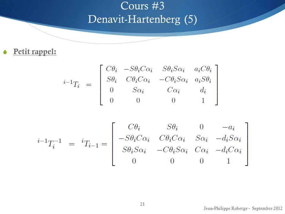 Petit rappel: 21 Cours #3 Denavit-Hartenberg (5) Jean-Philippe Roberge - Septembre 2012