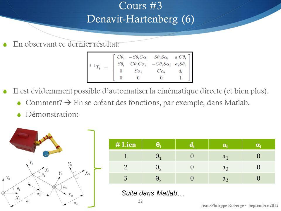22 Cours #3 Denavit-Hartenberg (6) Jean-Philippe Roberge - Septembre 2012 En observant ce dernier résultat: Il est évidemment possible dautomatiser la