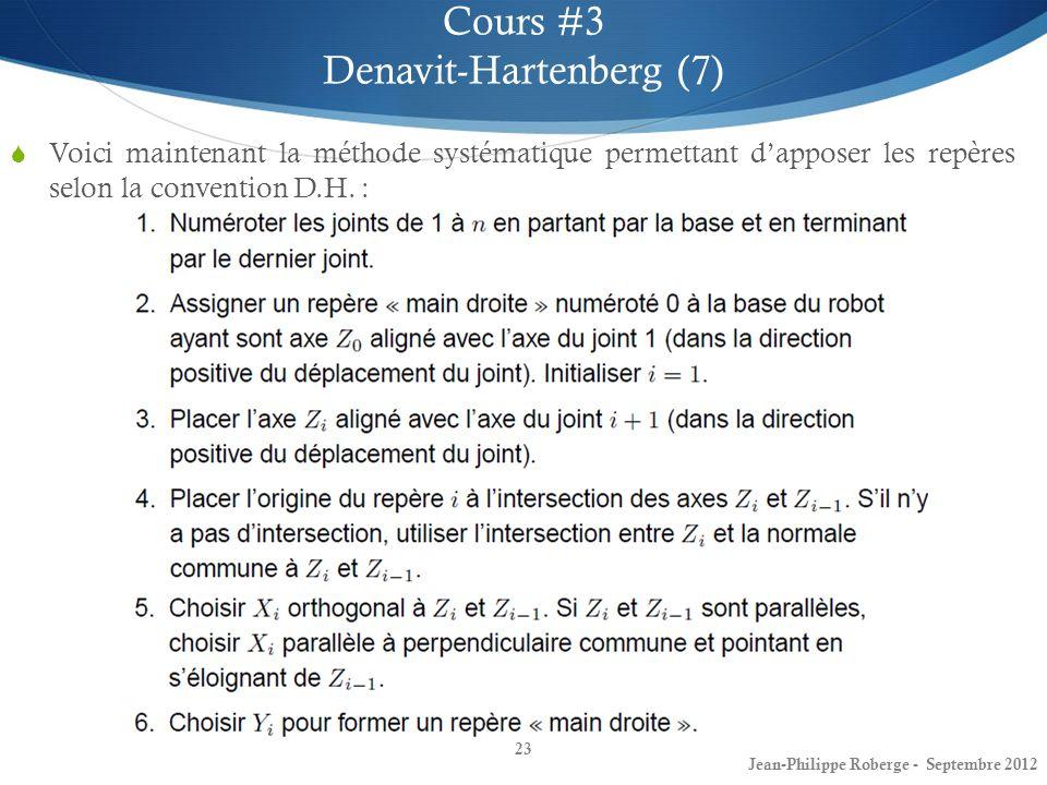 23 Cours #3 Denavit-Hartenberg (7) Jean-Philippe Roberge - Septembre 2012 Voici maintenant la méthode systématique permettant dapposer les repères sel
