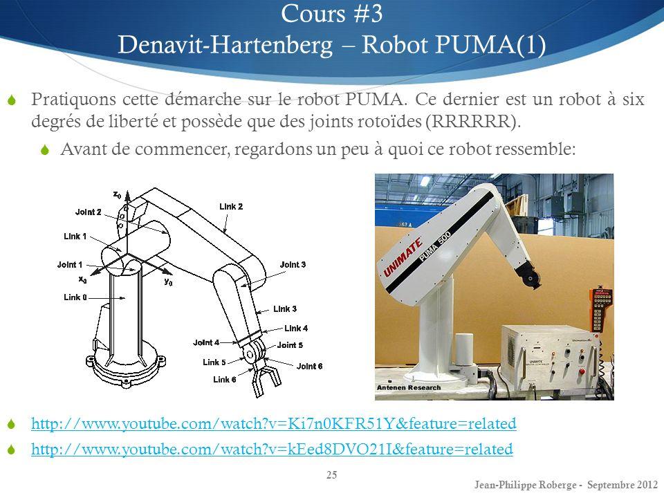 25 Cours #3 Denavit-Hartenberg – Robot PUMA(1) Jean-Philippe Roberge - Septembre 2012 Pratiquons cette démarche sur le robot PUMA. Ce dernier est un r