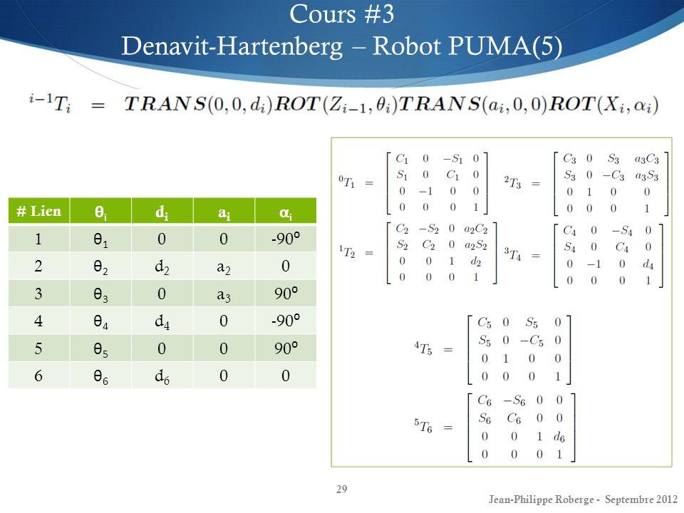 29 Cours #3 Denavit-Hartenberg – Robot PUMA(5) Jean-Philippe Roberge - Septembre 2012 # Lien θiθi didi aiai αiαi 1 θ1θ1 00 -90 2 θ2θ2 d2d2 a2a2 0 3 θ3