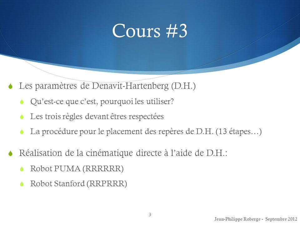 34 Cours #3 Denavit-Hartenberg – Robot Stanford(4) Jean-Philippe Roberge - Septembre 2012 # Lien θiθi didi aiai αiαi 1 θ 1v d1d1 0 -90 2 θ 2v d2d2 0 90 3 0 d 3v 0 0 4 θ 4v 00 -90 5 θ 5v 00 90 6 θ 6v d6d6 00