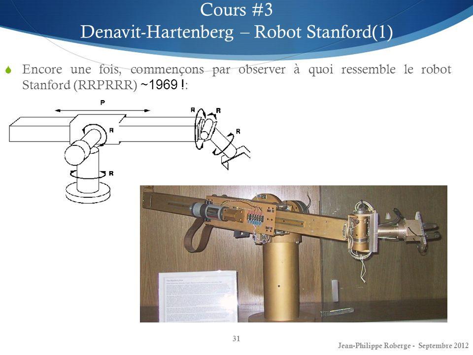 Encore une fois, commençons par observer à quoi ressemble le robot Stanford (RRPRRR) ~1969 ! : 31 Cours #3 Denavit-Hartenberg – Robot Stanford(1) Jean