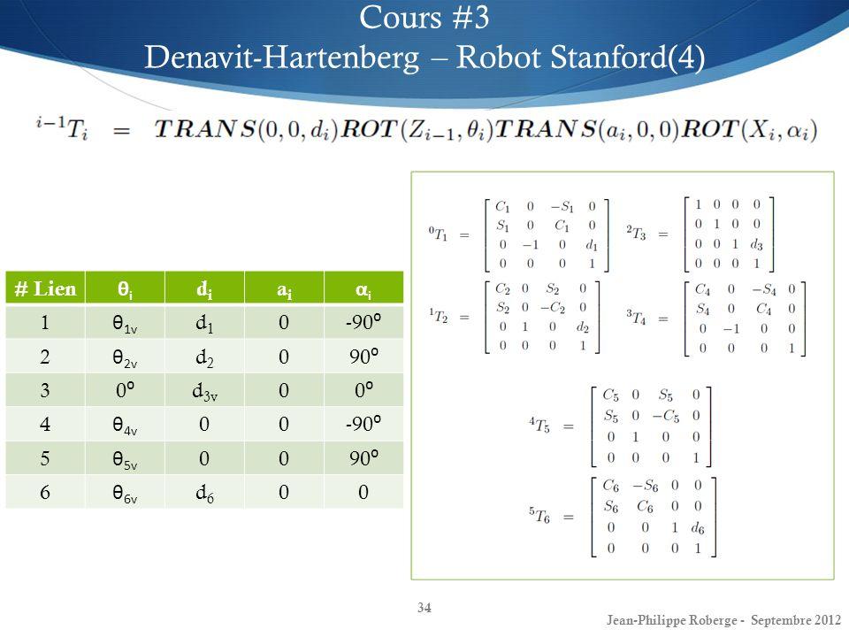 34 Cours #3 Denavit-Hartenberg – Robot Stanford(4) Jean-Philippe Roberge - Septembre 2012 # Lien θiθi didi aiai αiαi 1 θ 1v d1d1 0 -90 2 θ 2v d2d2 0 9