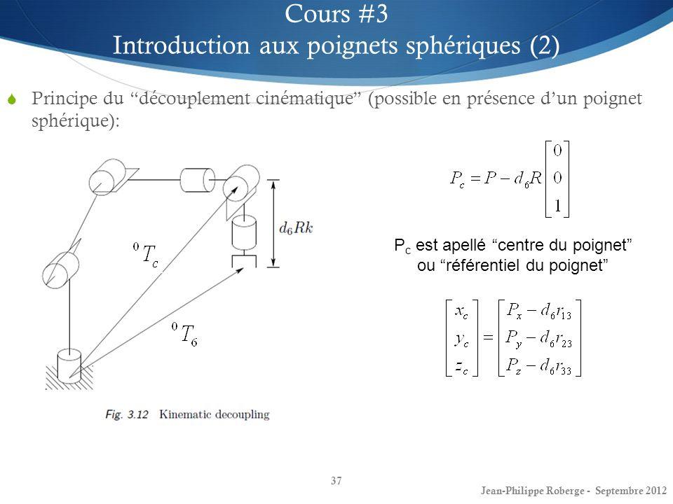 Principe du découplement cinématique (possible en présence dun poignet sphérique): 37 Cours #3 Introduction aux poignets sphériques (2) Jean-Philippe