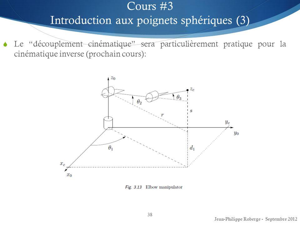 Le découplement cinématique sera particulièrement pratique pour la cinématique inverse (prochain cours): 38 Cours #3 Introduction aux poignets sphériq