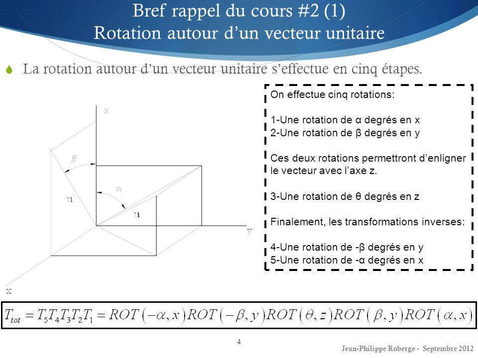 4 Bref rappel du cours #2 (1) Rotation autour dun vecteur unitaire La rotation autour dun vecteur unitaire seffectue en cinq étapes. On effectue cinq