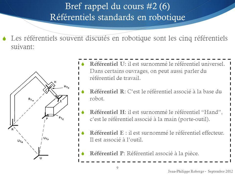 10 Bref rappel du cours #2 (7) Transformations entre les référentiels standards Maintenant que nous avons introduit certains concepts de base concernant les référentiels, étudions les référentiels souvent discutés en robotique: Jean-Philippe Roberge - Septembre 2012