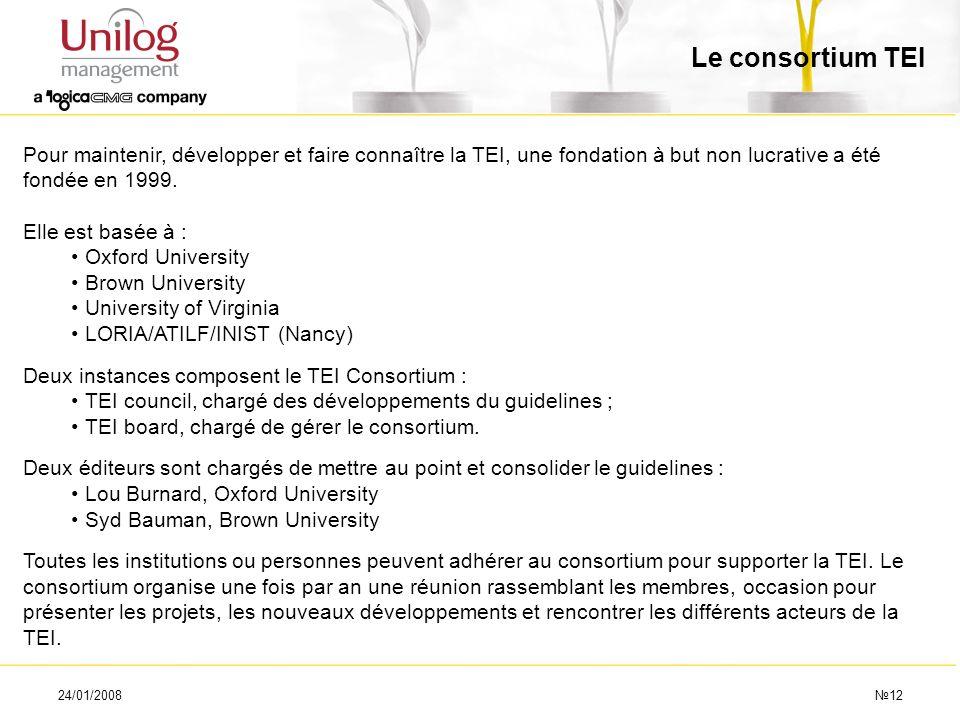 24/01/200812 Le consortium TEI Pour maintenir, développer et faire connaître la TEI, une fondation à but non lucrative a été fondée en 1999. Elle est