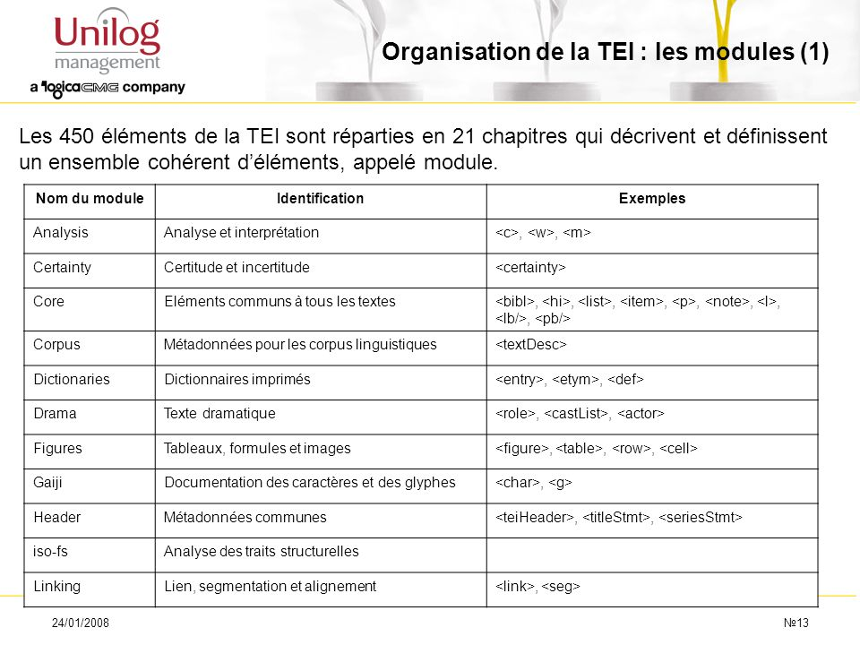 24/01/200813 Organisation de la TEI : les modules (1) Les 450 éléments de la TEI sont réparties en 21 chapitres qui décrivent et définissent un ensemb