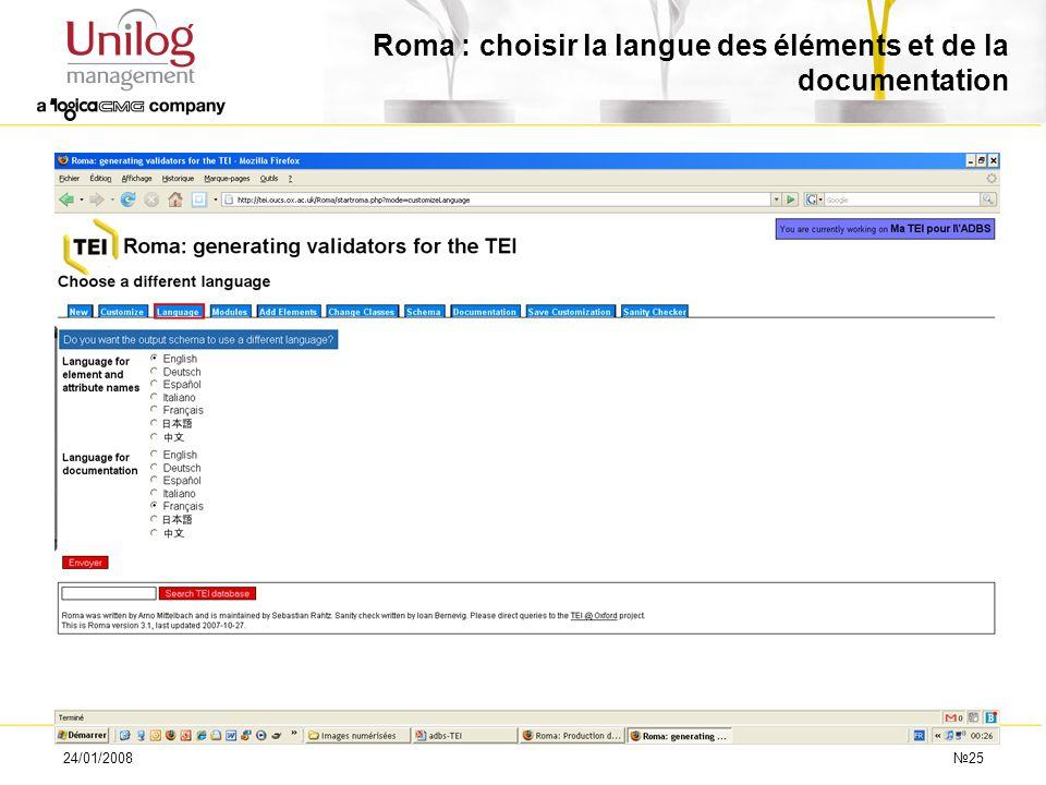 24/01/200825 Roma : choisir la langue des éléments et de la documentation