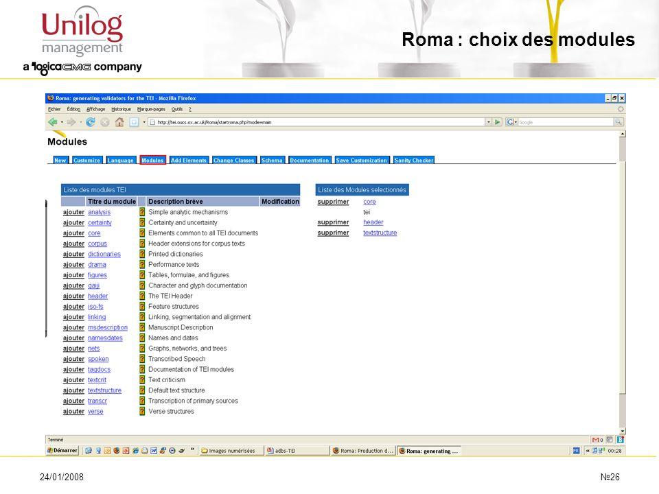 24/01/200826 Roma : choix des modules