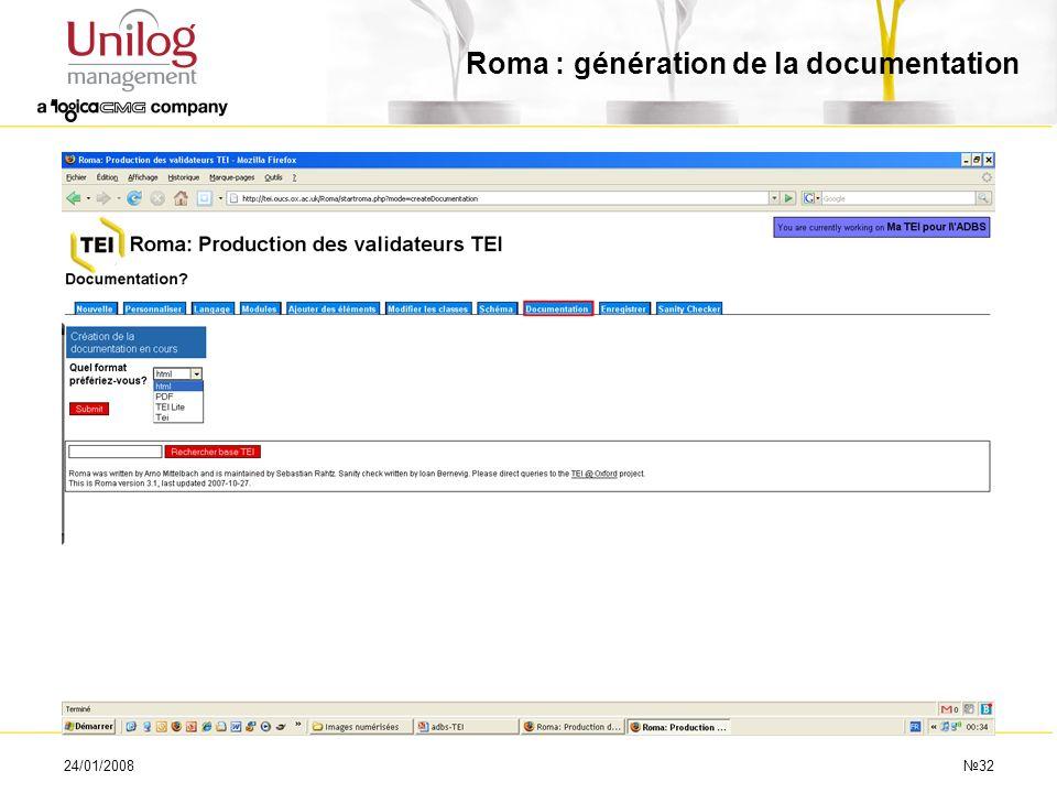 24/01/200832 Roma : génération de la documentation