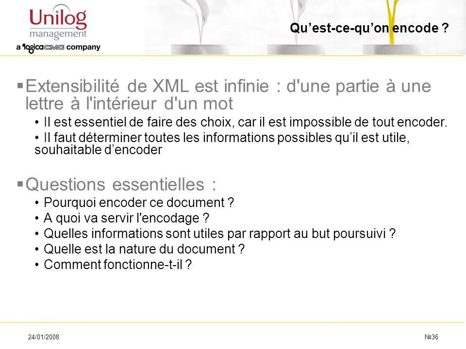 24/01/200836 Quest-ce-quon encode ? Extensibilité de XML est infinie : d'une partie à une lettre à l'intérieur d'un mot Il est essentiel de faire des