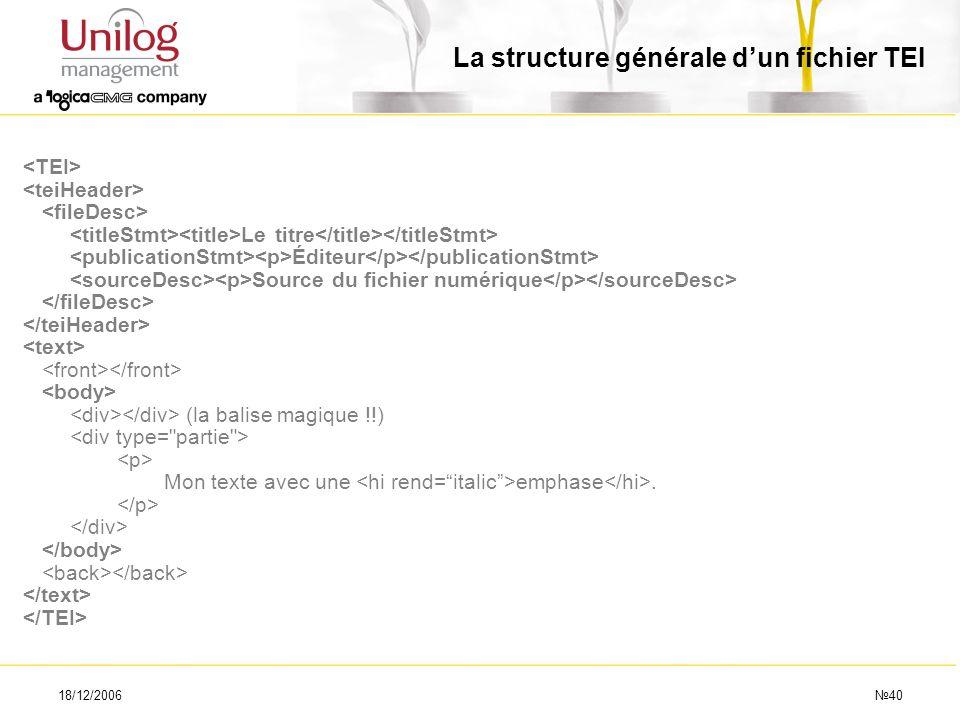 18/12/200640 Le titre Éditeur Source du fichier numérique (la balise magique !!) Mon texte avec une emphase. La structure générale dun fichier TEI