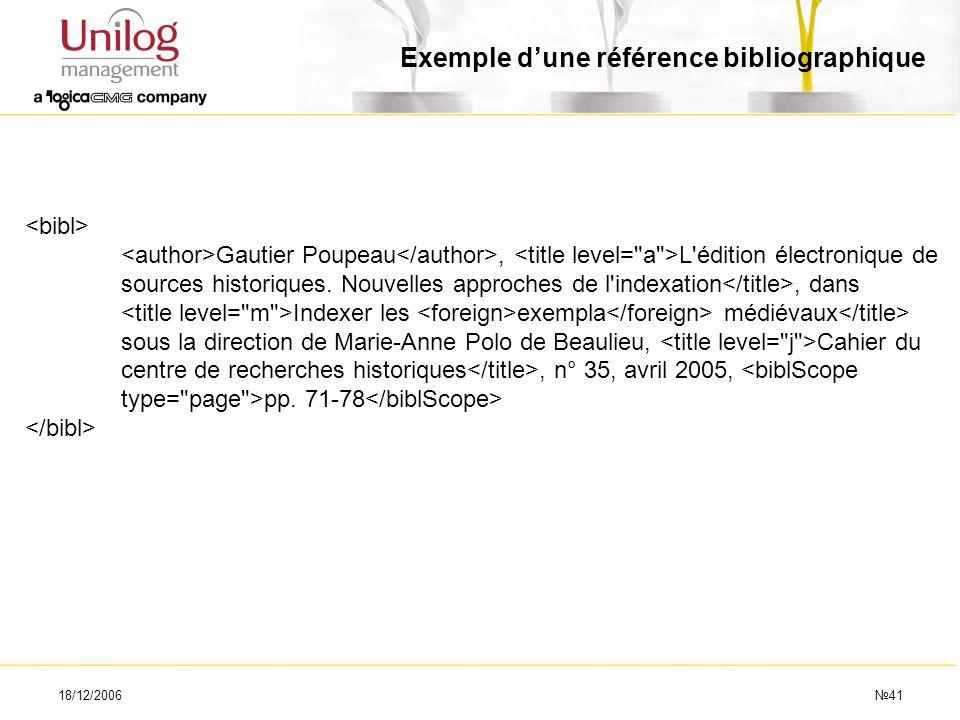 18/12/200641 Gautier Poupeau, L'édition électronique de sources historiques. Nouvelles approches de l'indexation, dans Indexer les exempla médiévaux s