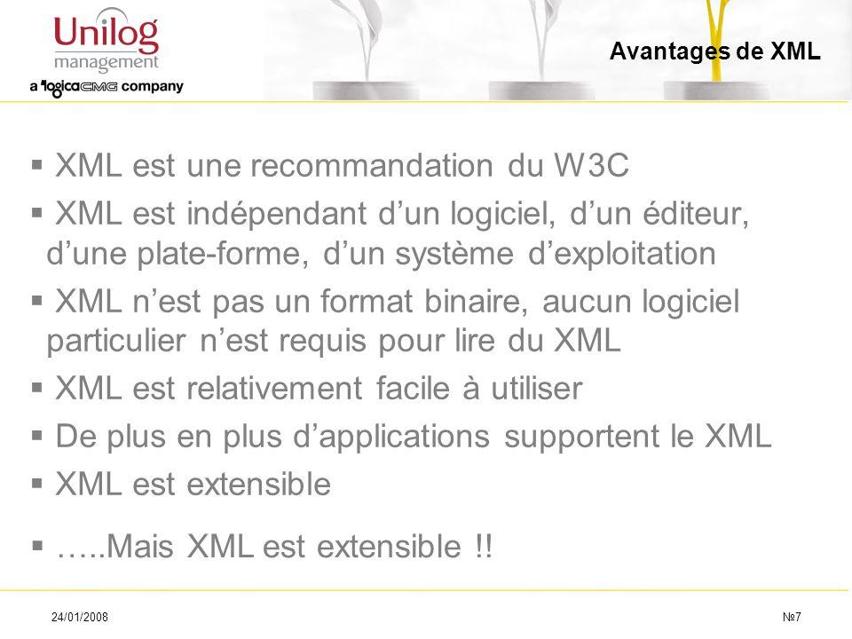 24/01/20087 Avantages de XML XML est une recommandation du W3C XML est indépendant dun logiciel, dun éditeur, dune plate-forme, dun système dexploitat