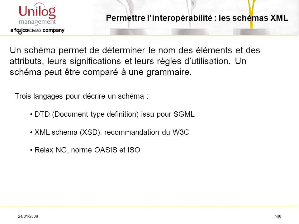 24/01/20088 Permettre linteropérabilité : les schémas XML Un schéma permet de déterminer le nom des éléments et des attributs, leurs significations et