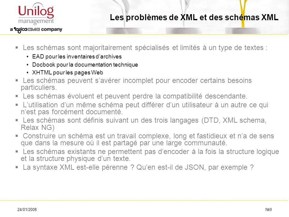 24/01/20089 Les problèmes de XML et des schémas XML Les schémas sont majoritairement spécialisés et limités à un type de textes : EAD pour les inventa