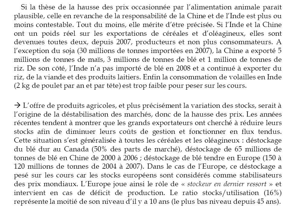 Si la thèse de la hausse des prix occasionnée par lalimentation animale paraît plausible, celle en revanche de la responsabilité de la Chine et de lIn