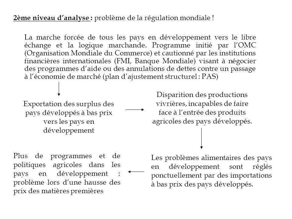 2ème niveau danalyse : problème de la régulation mondiale ! La marche forcée de tous les pays en développement vers le libre échange et la logique mar