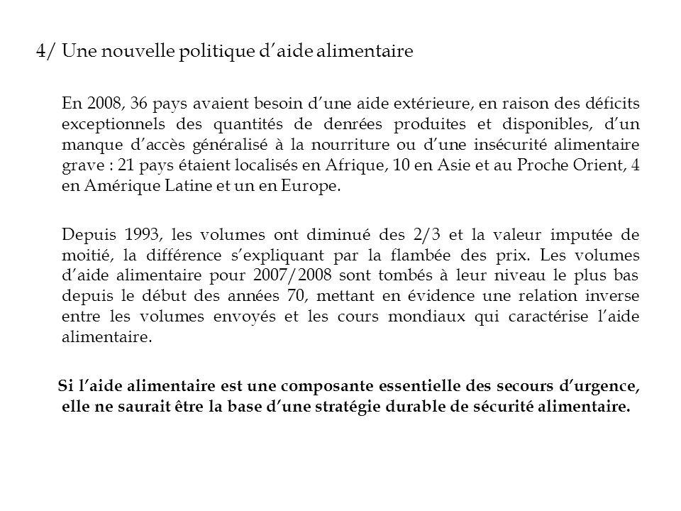 4/ Une nouvelle politique daide alimentaire En 2008, 36 pays avaient besoin dune aide extérieure, en raison des déficits exceptionnels des quantités d