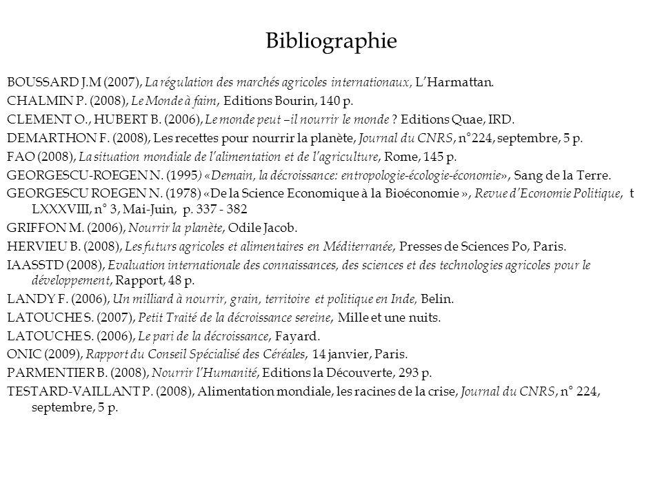 Bibliographie BOUSSARD J.M (2007), La régulation des marchés agricoles internationaux, LHarmattan. CHALMIN P. (2008), Le Monde à faim, Editions Bourin