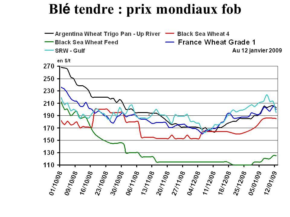 Au 12 janvier 2009 Bl é tendre : prix mondiaux fob
