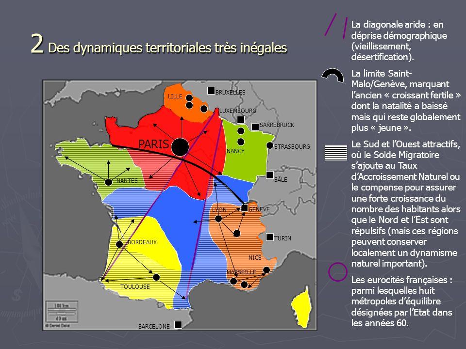 2 Des dynamiques territoriales très inégales PARIS LILLE STRASBOURG NANCY BRUXELLES LUXEMBOURG SARREBRÜCK BÂLE TURIN BARCELONE La diagonale aride : en