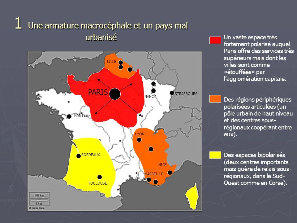 Un vaste espace très fortement polarisé auquel Paris offre des services très supérieurs mais dont les villes sont comme «étouffées » par lagglomération capitale.