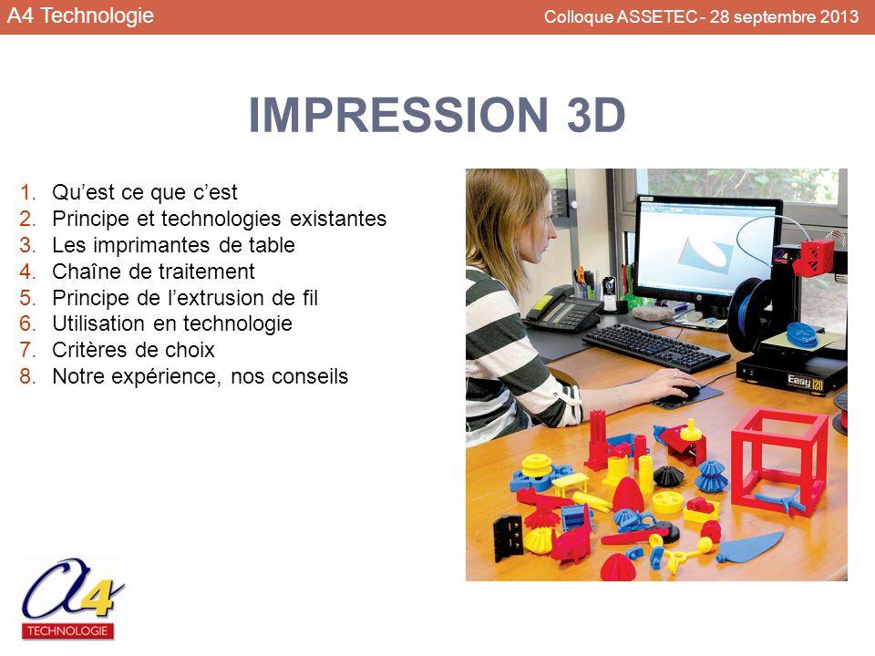 A4 Technologie Colloque ASSETEC - 28 septembre 2013 1.Quest ce que cest 2.Principe et technologies existantes 3.Les imprimantes de table 4.Chaîne de t