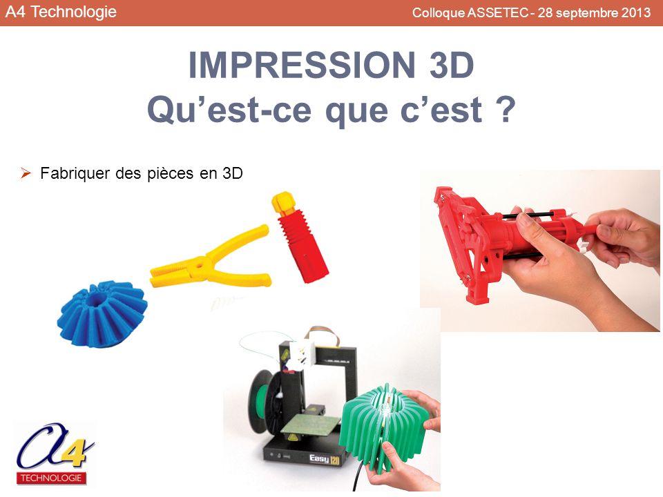 A4 Technologie Colloque ASSETEC - 28 septembre 2013 IMPRESSION 3D Quest-ce que cest ? Fabriquer des pièces en 3D
