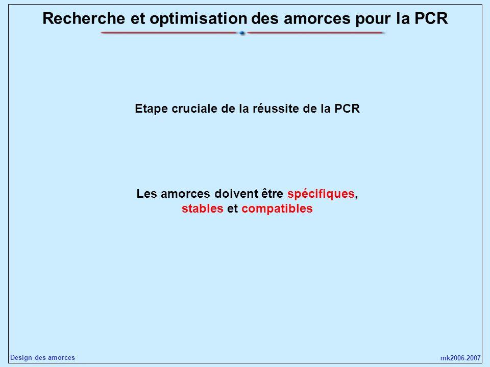 mk2006-2007 Design des amorces Recherche et optimisation des amorces pour la PCR Les amorces doivent être spécifiques, stables et compatibles Etape cr