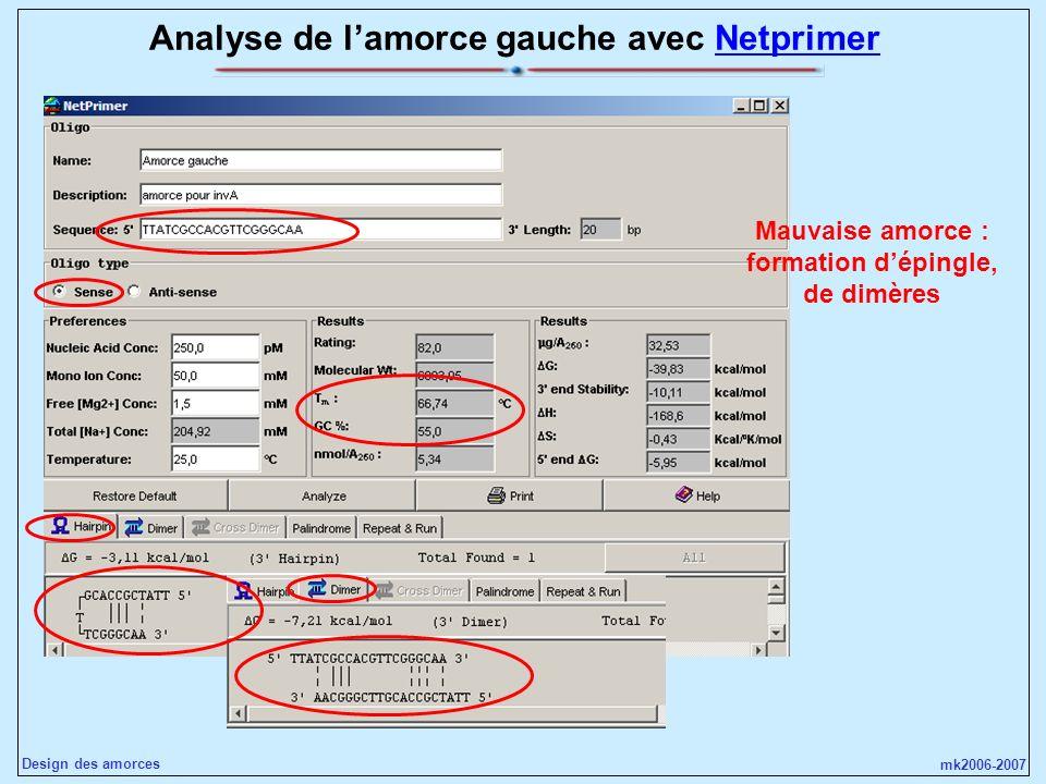 mk2006-2007 Design des amorces Analyse de lamorce gauche avec NetprimerNetprimer Mauvaise amorce : formation dépingle, de dimères