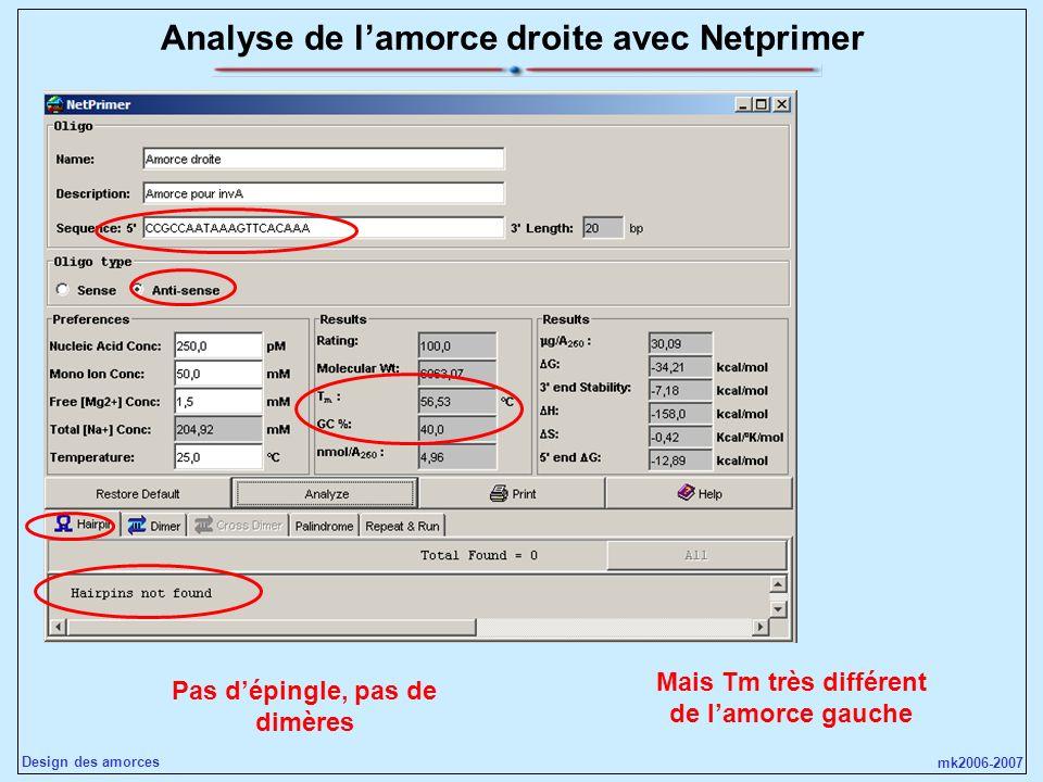 mk2006-2007 Design des amorces Analyse de lamorce droite avec Netprimer Pas dépingle, pas de dimères Mais Tm très différent de lamorce gauche